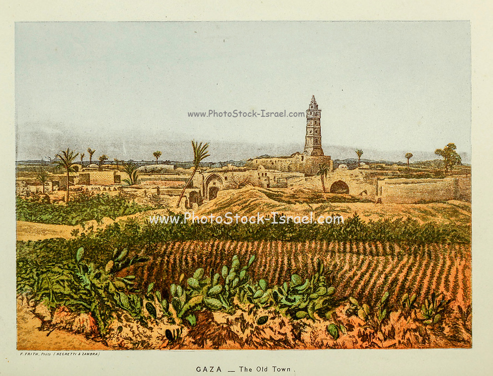 The Old Town of Gaza from the book Scenes in the East : consisting of twelve coloured photographic views of places mentioned in the Bible, with descriptive letter-press. By Tristram, H. B. (Henry Baker), 1822-1906; Published by the Society for Promoting Christian Knowledge (Great Britain) in London in 1872