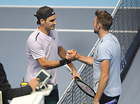 Tennis - 2017 Nitto ATP Finals  at The 02 - Day One, Sunday<br /> Roger Federer v Jack Sock<br /> <br /> Roger Federer  (Sui) is congratulated by Sock after winning in two straight sets<br /> <br /> COLORSPORT/ANDREW COWIE