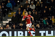 Tom Bradshaw of Barnsley celebrates after scoring his teams first goal. EFL Skybet championship match, Fulham v Barnsley at Craven Cottage in London on Saturday 23rd December 2017<br /> pic by Steffan Bowen, Andrew Orchard sports photography.