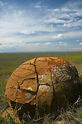 Mudstone formation with lichens on the Great Plains of Montana in the American Reserve region of the C.M. Russell National Wildlife Refuge. South of Malta in Phillips County, Montana.
