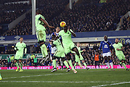 Yaya Toure of Manchester City heads the ball clear. Capital one cup semi final 1st leg match, Everton v Manchester city at Goodison Park in Liverpool on Wednesday 6th January 2016.<br /> pic by Chris Stading, Andrew Orchard sports photography.