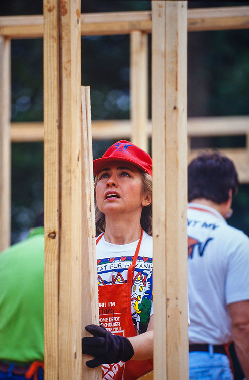 Hillary Clinton works to frame a house during a Habitat for Humanity house in Atlanta, Georgia. The build included volunteers such as Bill, Chelsea and Hillary Clinton, Al and Tipper Gore and Jimmy and Rosalynn Carter.