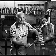 Boot maker Rafael Moran has spent his life making custom cowboy boots. His shop, Moran Boots, is located in Weslaco. (4X5 Ilford HP5) photo by Nathan Lambrecht