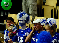 21-09-2013 VOLLEYBAL: EK MANNEN SLOVENIE - FINLAND: HERNING<br /> Support publiek Finland<br /> ©2013-FotoHoogendoorn.nl<br />  / SPORTIDA