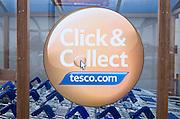 Click and Collect Tesco sign close up, UK