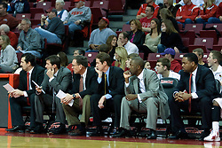 18 February 2012:  Redbird bench has all four coaches starting third from left - Rob Judson, Tim Jankovich, Anthony Beane, and Paris Parham during an ESPN Bracketbuster mens basketball game Where the Oakland Golden Grizzlies lost to the Illinois State Redbirds 79-75 in Redbird Arena, Normal IL