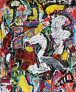 """Freak Show – 14""""x17"""", Acrylic, pastel, ink, and Japanese paper on paper, 2013"""