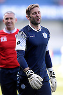 Queens Park Rangers goalkeeper Robert Green sharing a joke during pre game training.  Skybet football league championship match , Queens Park Rangers v Blackpool at Loftus Road in London  on Saturday 29th March 2014.<br /> pic by John Fletcher, Andrew Orchard sports photography.