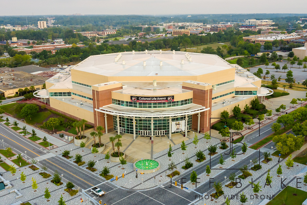 Aerial drone photo of Colonial Life Arena in Columbia, SC, by photographer Jeff Blake, www.JeffBlakePhoto.com