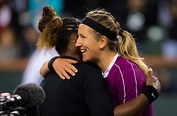 March 8, 2019 - Indian Wells, USA - Serena Williams of the United States & Victoria Azarenka of Belarus at the net after their second-round match at the 2019 BNP Paribas Open WTA Premier Mandatory tennis tournament (Credit Image: © AFP7 via ZUMA Wire)