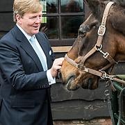 NLD/Amersfoort/20171024 - Streekbezoek Koning Alexander en koningin Maxima aan Eemland, Koning Willem Alexander aait een paard