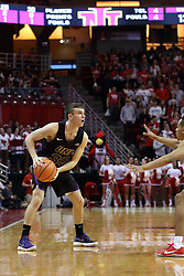 17 February 2018:  Spencer Haldeman defended by Madison Williams during a College mens basketball game between the University of Northern Iowa Panthers and Illinois State Redbirds in Redbird Arena, Normal IL