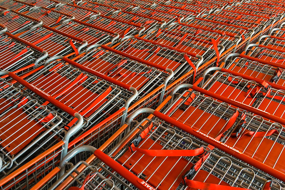 When shopping carts are stacked together they can be pretty interesting from the right angle.