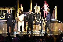 ANAHEIM, CA - MAY 25: (L-R) Chairman of Walt Disney Parks and Resorts, Bob Chapek, Zoe Saldana, Michael Rooker, Pom Klementieff, James Gunn, writer of Guardians of the Galaxy attend Guardians for the Galaxy: Mission – BREAKOUT! Grand Opening Ceremony attraction on May 25, 2017 at the Disneyland Resort in Anaheim, California USA. Byline, credit, TV usage, web usage or link back must read SILVEXPHOTO.COM. Failure to byline correctly will incur double the agreed fee. Tel: +1 714 504 6870.