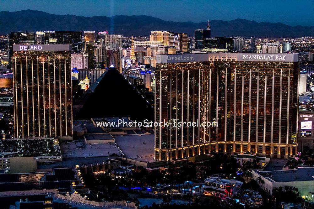 Aerial view of Mandalay Bay Resort and Casino, Las Vegas, Nevada, USA