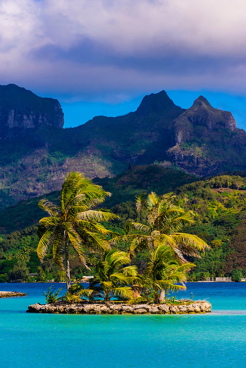 View from Motu Mute Airport, on a small island off Bora Bora, Society Islands, French Polynesia.