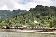 French Polynesia, Nuku Hiva shoreline and lighthouse