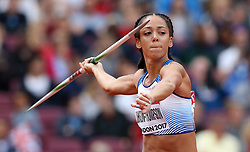 Great Britain's Katarina Johnson-Thompson during the Javelin element of the Women's Heptathlon during day three of the 2017 IAAF World Championships at the London Stadium.