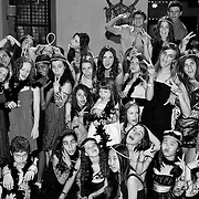 Group of girls pose with silly faces during Bat Mitzvah reception, black & white