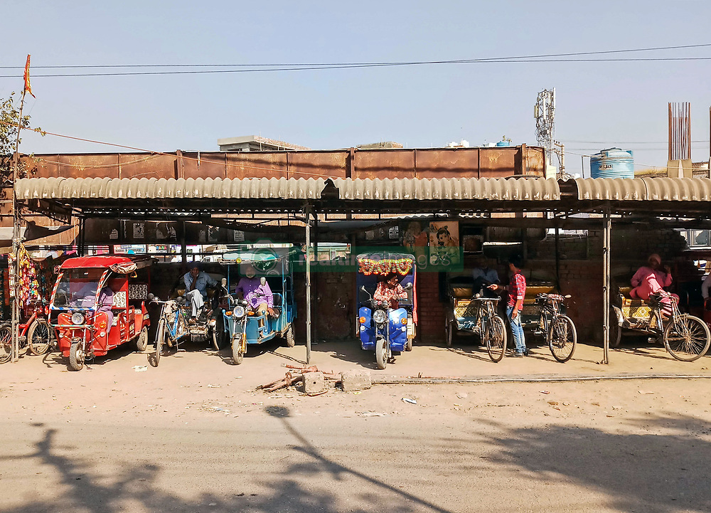 November 20, 2018 - Chandigarh, Punjab, India - Rickshaw drivers are seen waiting for customers in Chandigarh..Chandigarh is a city and a union territory in India that serves as the capital of the two neighbouring states of Haryana and Punjab. Chandigarh is bordered by the state of Punjab to the north, the west and the south, and to the state of Haryana to the east. The population of Chandigarh in the year 2018 as per estimated data is 1,230,763. (Credit Image: © Saqib Majeed/SOPA Images via ZUMA Wire)