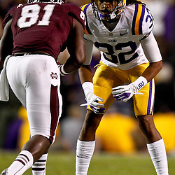 November 10, 2012; Baton Rouge, LA, USA;  LSU Tigers cornerback Jalen Collins (32) works against Mississippi State Bulldogs wide receiver Robert Johnson (81) during the first half of a game at Tiger Stadium.  Mandatory Credit: Derick E. Hingle-US PRESSWIRE