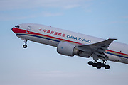 A China Cargo Boeing 777-F6N takes off for Shanghai from Los Angeles International Airport (LAX) on Friday, February 28, 2020 in Los Angeles. (Brandon Sloter/Image of Sport)