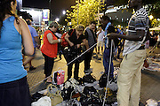 illegally selling of fake goods after dark Barcelona Spain