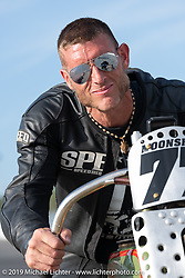 Josh Owens riding one of Billy Lane's 61 ci Harley-Davidson board track style motorcycle racer in the Sons of Speed Vintage Motorcycle Races at New Smyrina Speedway. New Smyrna Beach, USA. Saturday, March 9, 2019. Photography ©2019 Michael Lichter.