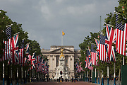 On US President Donald Trump's first day of a controversial three-day state visit to the UK by the 45th American President, The US Stars and Stripes hangs next to British Union Jack flags down the Mall and opposite Buckingham Palace, on 3rd June 2019, in London England.