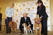 l to r: Kara Hammond with Darco Van de Paterhoek(Dog de Bordeaux), David Frei with Uno(best in show 2008), and Vickie Saez with Gargoyle's Brando T Beefcake at The133rd Westminister Kennel Club Dog Show Press Conference announcing The Dogue De Bordeaux debut at the Westminister Kennel Club Dog Show held at the Pennsylvania Hotel Sky Top Ball Room on February 5, 2009 in New York City