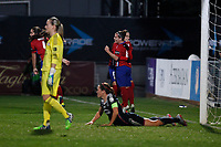 Atletico de Madrid´s players celebrate Nagore´s goal (1-2) during UEFA Women´s Champions League soccer match between Atletico de Madrid and Olympique Lyonnais, in Madrid, Spain. November 11, 2015. (ALTERPHOTOS/Victor Blanco)
