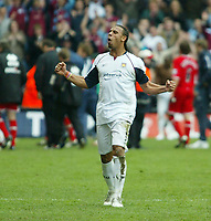 Photo: Chris Ratcliffe.<br /> Middlesbrough v West Ham United. The FA Cup, Semi-Final. 23/04/2006.<br /> Anton Ferdinand celebrates the win for West Ham