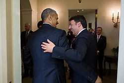 President Barack Obama greets Prime Minister Matteo Renzi of Italy prior to a bilateral meeting in the Oval Office, April 17, 2015. (Official White House Photo by Pete Souza)<br /> <br /> This official White House photograph is being made available only for publication by news organizations and/or for personal use printing by the subject(s) of the photograph. The photograph may not be manipulated in any way and may not be used in commercial or political materials, advertisements, emails, products, promotions that in any way suggests approval or endorsement of the President, the First Family, or the White House.