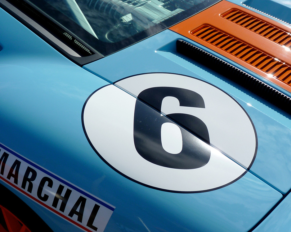 We found this Ford GT in Gulf Racing livery at the La Jolla Concourse d'Elegance in La Jolla, California.