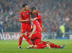 Aaron Ramsey (Arsenal) and other players celebrate after Wales win the match 1-0 to top their UEFA2016 Qualifying Group - Photo mandatory by-line: Rogan Thomson/JMP - 07966 386802 - 12/06/2015 - SPORT - FOOTBALL - Cardiff, Wales - Cardiff City Stadium - Wales v Belgium - EURO 2016 Qualifier.