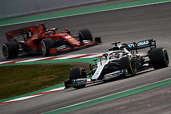 February 19, 2019 - Barcelona, Barcelona, Spain - Lewis Hamilton of Great Britain driving the (44) Mercedes AMG Petronas F1 Team Mercedes W10 and Charles Leclerc of Monaco driving the (16) Scuderia Ferrari Mission Winnow SF90 during day two of F1 Winter Testing at Circuit de Catalunya on February 19, 2019 in Montmelo, Spain. (Credit Image: © Jose Breton/NurPhoto via ZUMA Press)