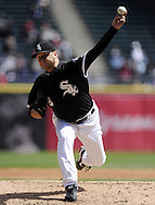 CHICAGO - APRIL 17:  Mark Buehrle #56 of the Chicago White Sox pitches against the Los Angeles Angels on April 17, 2011 at U.S. Cellular Field in Chicago, Illinois.  The Angels defeated the White Sox 4-2.  (Photo by Ron Vesely)  Subject:  Mark Buehrle