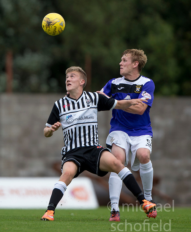 Elgin City's Kyle McLeod and East Fife's Jonathan Page. <br /> East Fife 2 v 1 Elgin City, Ladbrokes Scottish Football League Division Two game played 22/8/2015 at East Fife's home ground, Bayview Stadium.