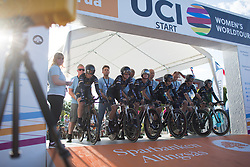 Wiggle Hi5 Cycling Team are ready to start the Crescent Vargarda - a 42.5 km team time trial, starting and finishing in Vargarda on August 11, 2017, in Vastra Gotaland, Sweden. (Photo by Balint Hamvas/Velofocus.com)