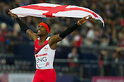 Mcc0055084 . Daily Telegraph<br /> <br /> Conrad Williams and the rest of the England 4x400 Relay Team after winning Gold in the Final on Day 10 of the 2014 Commonwealth Games in Glasgow .<br /> <br /> <br /> Glasgow 2 August 2014