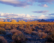 Sunset light illuminating tufa formations at The Needles, Pyramid Lake, Pyramid Lake Indian Reservation, Nevada.