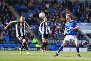 Notts County midfielder Liam Noble (18) and Chesterfield defender Andy Kellett (24) during the EFL Sky Bet League 2 match between Chesterfield and Notts County at the b2net stadium, Chesterfield, England on 25 March 2018. Picture by Jon Hobley.