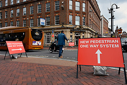 Station Road and Friar Street junction showing new one way system for pedestrians. Easing of Coronavirus lockdown, Reading, UK 12 June 2020