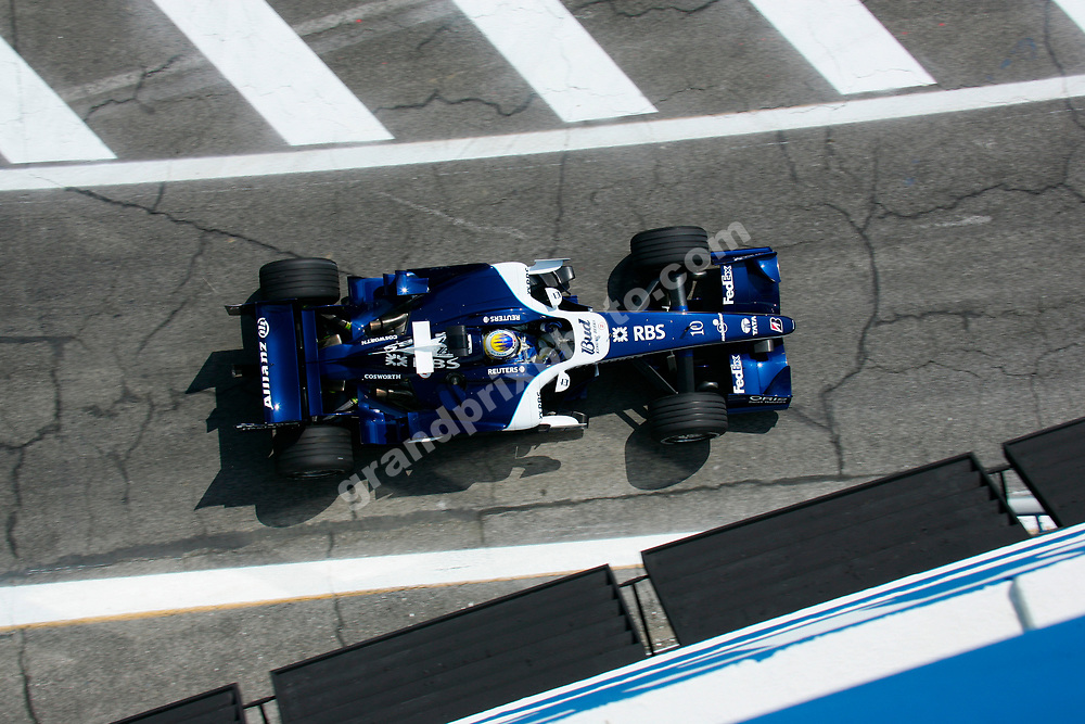 Nico Rosberg (Williams-Cosworth) seen from above during practice for the 2006 San Marino Grand Prix at Imola. Photo: Grand Prix Photo