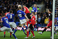 Cardiff's Mark Hudson (c no5) attempts to connect with a header at goal. NPower championship, Cardiff city v Ipswich Town at the Cardiff city Stadium in Cardiff, South Wales on Saturday 12th Jan 2013. pic by Andrew Orchard, Andrew Orchard sports photography,