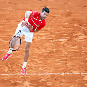PARIS, FRANCE October 09.  Novak Djokovic of Serbia in action against Stefanos Tsitipas of Greece in the Semi Finals of the singles competition on Court Philippe-Chatrier during the French Open Tennis Tournament at Roland Garros on October 9th 2020 in Paris, France. (Photo by Tim Clayton/Corbis via Getty Images)