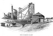 Pithead at Hebburn Colliery, Newcastle area, showing engine house (left) providing power for the winding gear (centre) which is raising baskets (corves) of coal from the bottom of the pit and filling the wooden railway wagons. On the wagon at left the brake is easily visible. From W. Fordyce 'A History of Coal, Coke, Coal Fields ...', London, 1860.