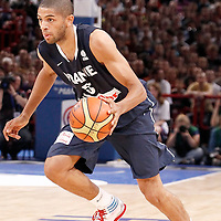 15 July 2012: Nicolas Batum of Team France dribbles during a pre-Olympic exhibition game won 75-70 by Spain over France, at the Palais Omnisports de Paris Bercy, in Paris, France.