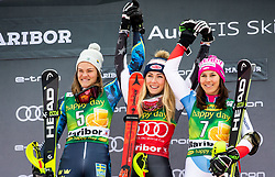 Second placed SWENN LARSSON Anna of Sweden, Winner SHIFFRIN Mikaela of USA and third placed HOLDENER Wendy of Switzerland celebrate during Trophy ceremony after the 7th Ladies'  Slalom at 55th Golden Fox - Maribor of Audi FIS Ski World Cup 2018/19, on February 2, 2019 in Pohorje, Maribor, Slovenia. Photo by Matic Ritonja / Sportida