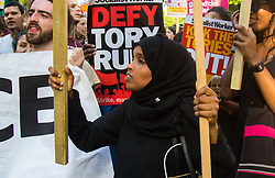 London, June 21st 2017. Protesters march through London from Sheherd's Bush Green in what the organisers call 'A Day Of Rage' in the wake of the Grenfell Tower fire disaster. The march is organised by the Movement for Justice By Any Means Necessary and coincides with the Queen's Speech at Parliament, the destination. PICTURED: A few dozen remaining protesters demonstrate outside Downing Street calling for Prime Minister Theresa May to go